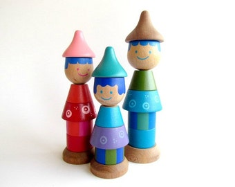 Ring Stacking Family, Wood Stacking Game, Wood dolls family