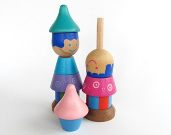 2 Wooden Stacking Doll's, Gift for Baby Tweens, Wood Stacking game, Wooden Stacking Toy,  Colorful Wooden Beads