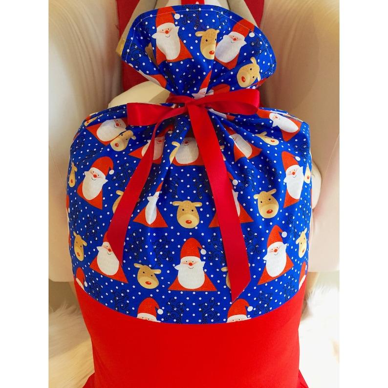 Handmade Blue Santa and reindeer Christmas stocking