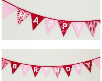 Happy Birthday Light Pink and Red Bunting Banner Flags Party Decoration