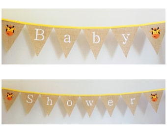 Burlap Hessian Baby Shower Bunting Banner Flags