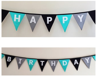 Happy Birthday Aqua black and grey Fabric Bunting Banner Flags Party Decoration
