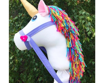 Handmade white unicorn Hobby Horse with rainbow mane