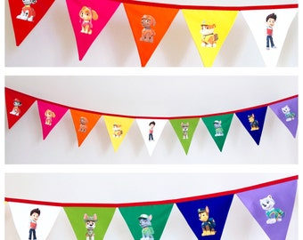 Paw Patrol Rainbow Fabric Bunting Banner Flags