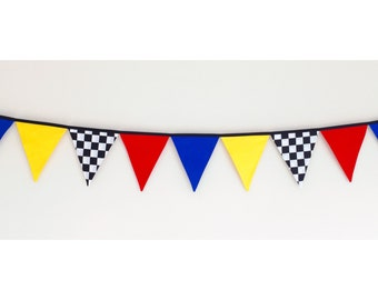 Boys Racing Car Grand Prix Fabric Bunting Banner Flags