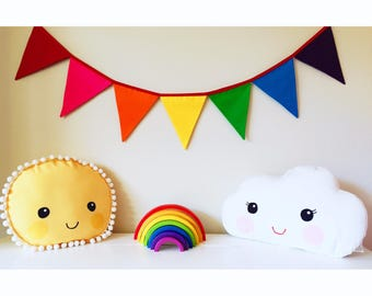 Rainbow Fabric Bunting Banner Flags