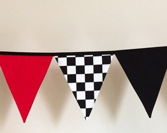 Boys Racing Car Grand Prix Fabric Bunting Banner Flags Decoration