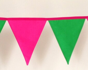Pink and Green Girls Fabric Bunting Banner Flags