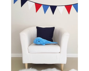 Blue Red and White Boys Fabric Bunting Banner Flags