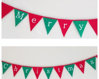 Merry Christmas Green and Red Bunting Banner Flags Decoration