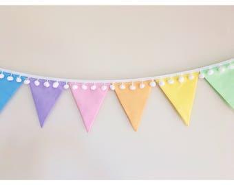Pastel Rainbow Fabric Bunting with pom poms