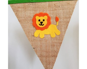 Personalised Burlap Hessian Lion Bunting Banner Flags
