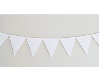 White Fabric Bunting Banner Flags