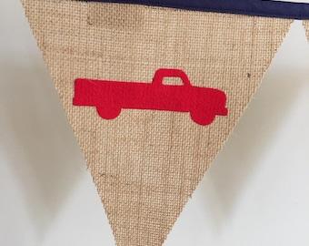 Personalised Burlap Hessian Car Bunting Banner Flags