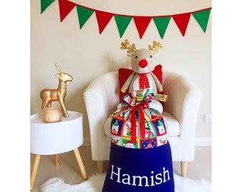 Handmade Christmas Navy Blue Santa Sack
