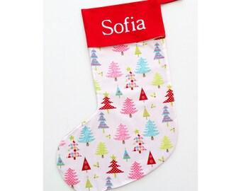 Handmade Christmas stocking with Christmas trees