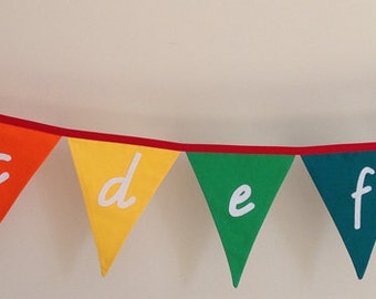 Lower Case Alphabet Rainbow Bunting Banner Flags