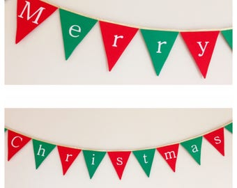 Merry Christmas Red Green and gold Bunting Banner Flags Decoration