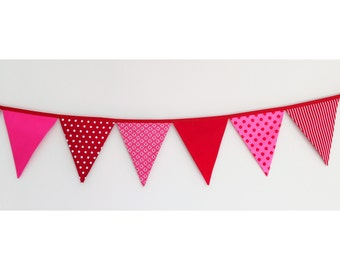 Pink and Red Fabric Bunting Banner Flags