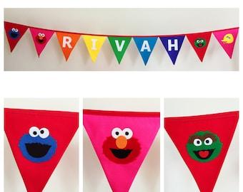 Personalised Sesame Street Rainbow Fabric Bunting Banner