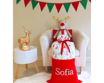 Handmade Red Christmas Santa Sack with Christmas trees