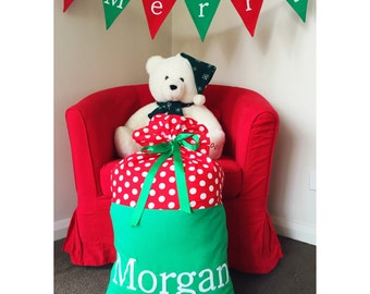 Handmade red and green Christmas Santa Sack with spots