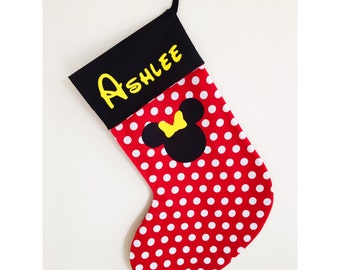 Handmade Minnie Mouse Christmas stocking