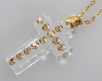 Clear lucite necklace, Cross necklace women, Swarovski cross, Perspex cross, Cross necklace gold, Religious necklace, Acrylic necklace.