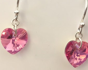 Swarovski Rose Pink Crystal Heart and Silver Earrings