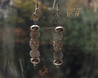 Grey Sapphire Sterling Silver Earrings