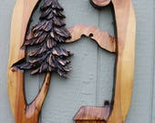 New Chainsaw Carving tree art house cedar sculpture wood plaque carved hand carved art 27 to 29 inches tall stump burned hand carving garden