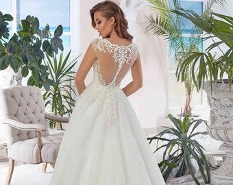 Bridal Lace Wedding Dress - Amabel Stunning Lace Dress - Long Tulle Wedding Dress - Elegant Wedding Dress - Unique Wedding Dress