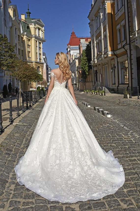 Lace Fit And Flare Wedding Dress Lisa Wedding Lace Dress Etsy