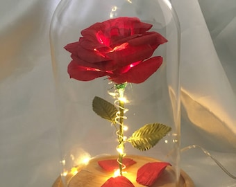Beauty and the beast disney paper handmade rose centrepiece with LED lights