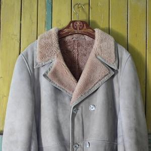 Manteau en fourrure de mouton brun Mans de fourrure de mouton véritable cuir d'hiver manteau en cuir véritable manteau vintage homme manteau homme en