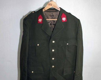 884e078b73a Vintage man s Royal Netherlands Army Jacket winter coat olive green canvas jacket  military jacket parade militia Halloween costume