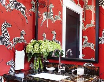 Franco Scalamandre Decorative Wallpaper, Zebras Wallpaper in Masai Red