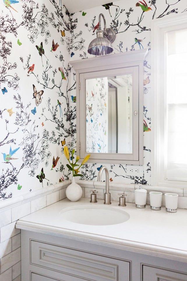 Schumacher Birds And Butterflies Wallpaper Decorative Wall Etsy