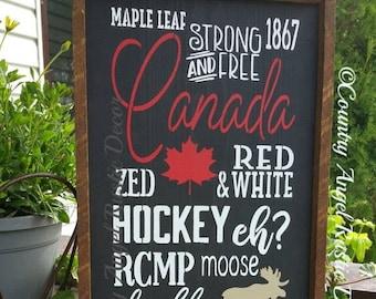 Canada Sign. Rustic Sign. Canada 150. Wood sign.