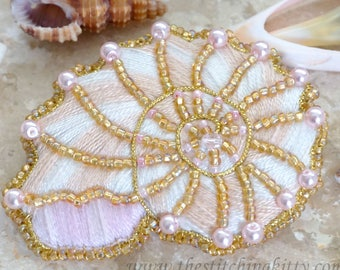 Nautilus Shell Hand-Embroidered Brooch/Ornament KIT (Makes 2)