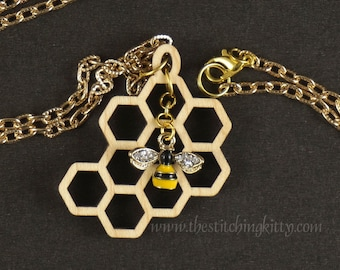 Bee and Honeycomb Pendant Necklace