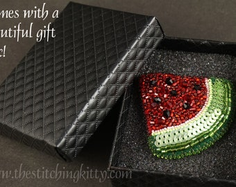 Watermelon Slice Bead Embroidery Ornament, Pendant or Brooch