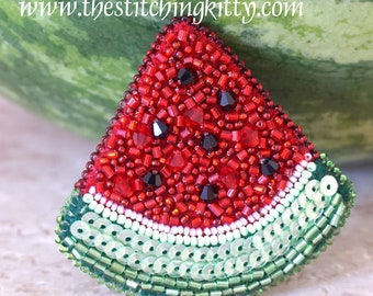 Watermelon Slice Bead Embroidery Ornament Kit, Pendant or Brooch