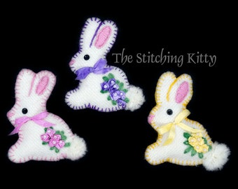 Spring Bunnies Hand-Embroidered Brooches/Ornaments KIT (Makes 3)