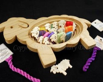 """Sheep Bowl & 12 Wood Sheep """"Baaa-bins"""""""