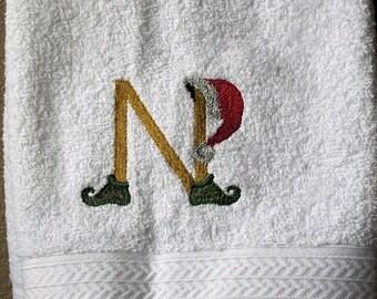 Christmas Towel, Elf Monogrammed White Hand Towel, Holiday Towel, Monogram Letter N
