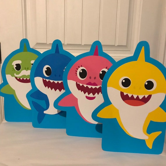 """10/"""" Baby Shark Yellow Wood Cutout Centerpiece Party Prop Birthday Decoration"""