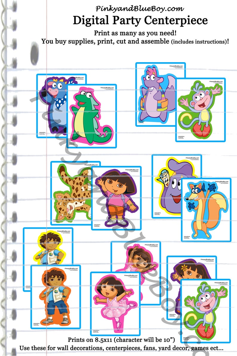 digital Dora the Explorer Set of 14 DIGITAL birthday party decorations, 10  inch character print outs boots, benny, swiper