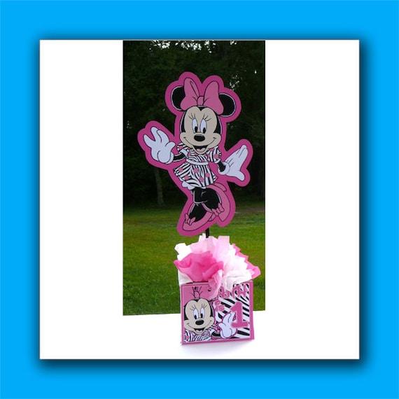 Zebra Minnie Mouse Birthday Party Centerpiece Zebra Print