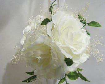 White flower ball etsy athens greenery babies breath and ivory rose kissing ball white ribbon flower girl pomander rose ball mightylinksfo